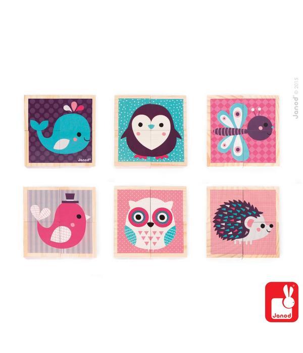 Janod Janod - Blokken baby dieren roze 4 stuks