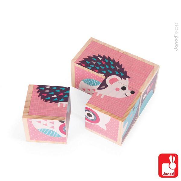 Janod - Blokken baby dieren roze 4 stuks