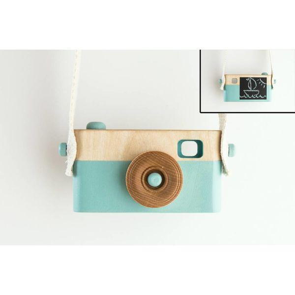 Craffox - Houten camera met krijtbord blauw