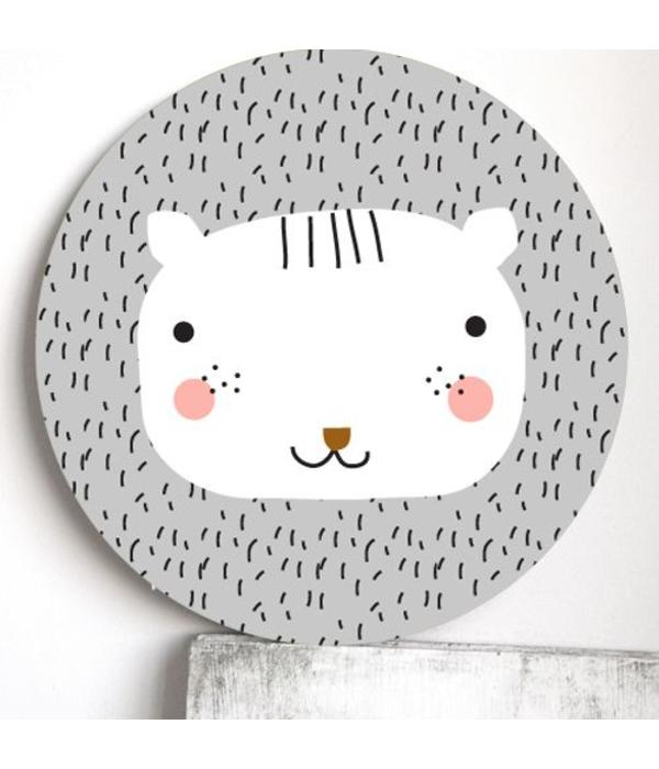 Haciendo el Indio HACIENDO EL INDIO - Wanddecoratie hout leeuw grijs