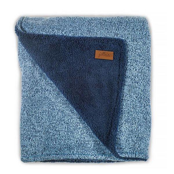 JOLLEIN - Deken stonewashed knit Teddy blauw 100x150