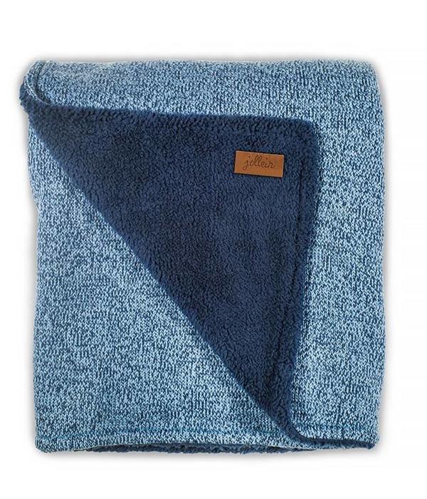 Jollein JOLLEIN - Deken stonewashed knit Teddy blauw 100x150