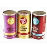PurYa! 3 x Veganer Protein Drink - Cacao-Carob / rote Banane-Baobab / Erdbeere-Vanille