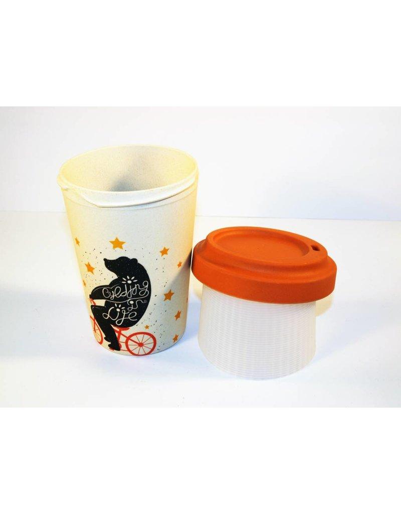 "BambooCup Bamboo-Cup ""Cycling Bear"" wiederverwendbarer Coffee-to-go Becher"