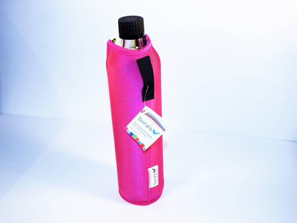 Biodora Glasflasche mit Neoprenbezug - PINK in 2 Größen