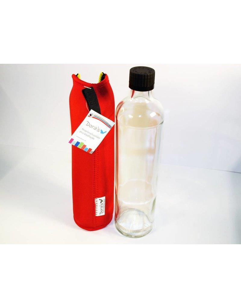 Biodora Glasflasche mit Neoprenbezug - ROT