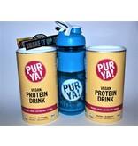 PurYa! 2 x Veganer Protein Drink - Vanille Erdbeere - BIO - plus Shaker