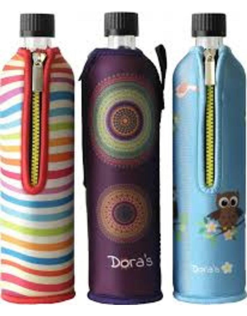 Biodora Glasflasche mit Neoprenbezug Design Happy Yoga