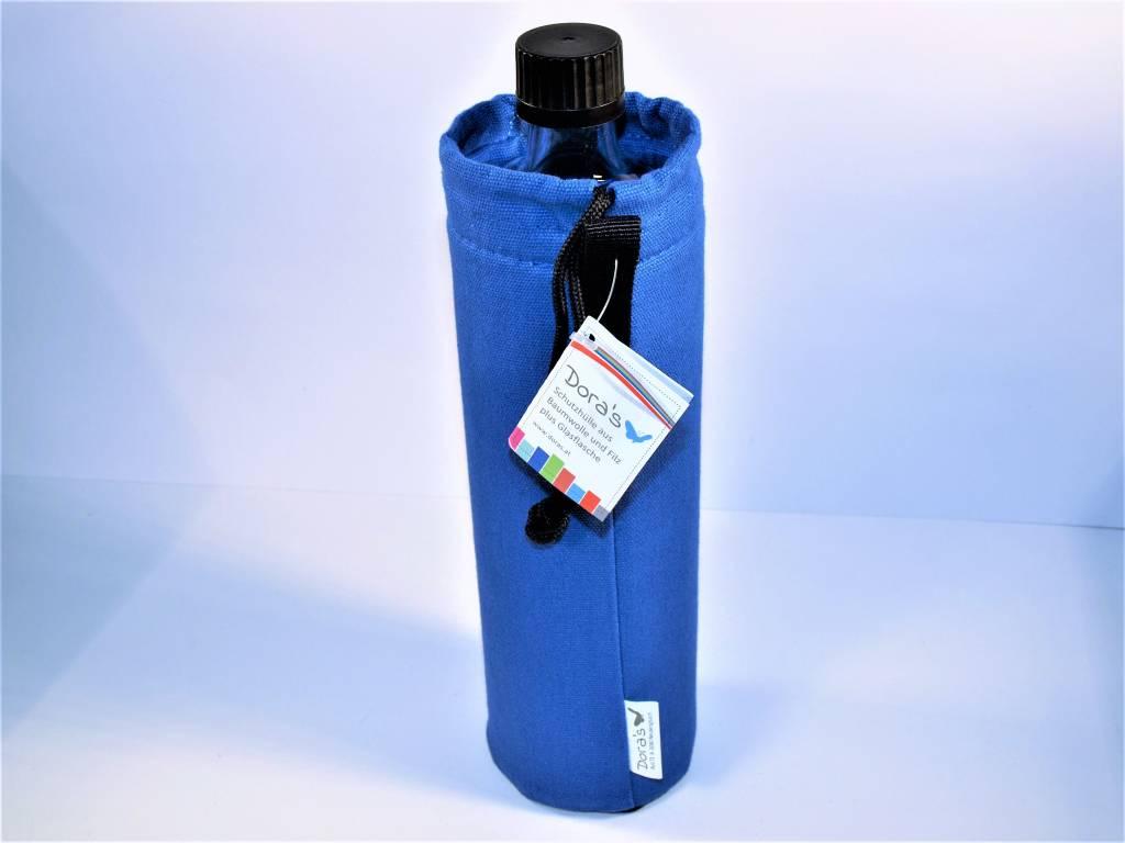 Biodora Glasflasche mit blauen Bezug