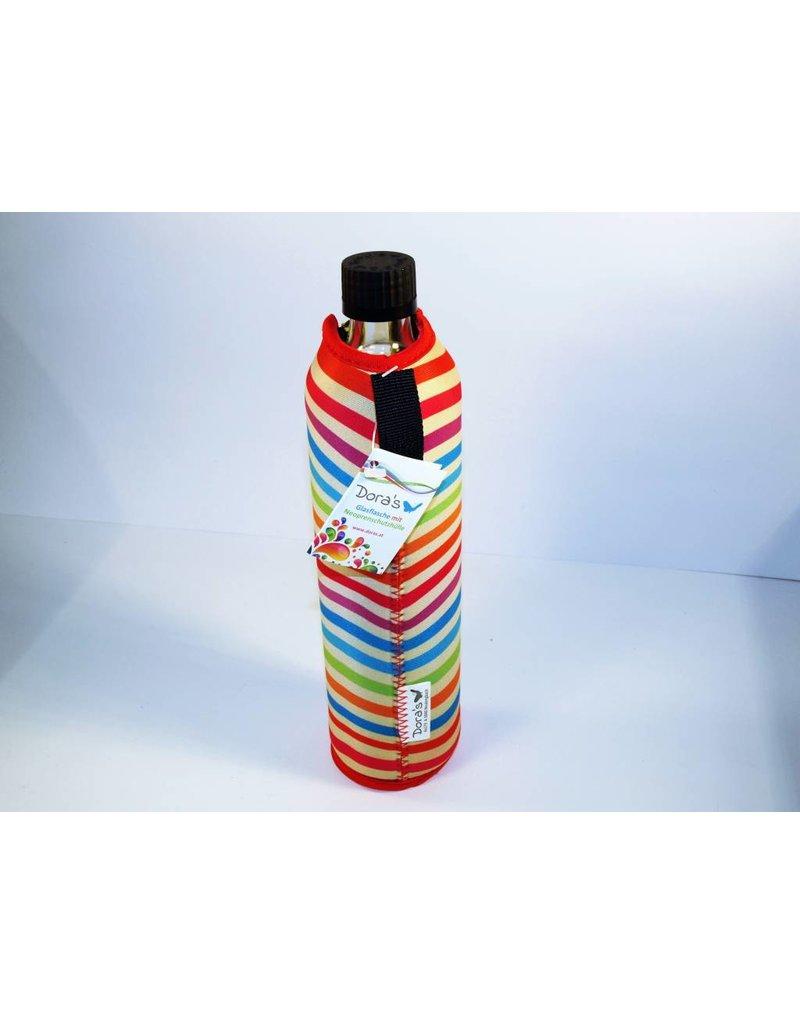 Biodora Glasflasche mit Neoprenbezug REGENBOGEN