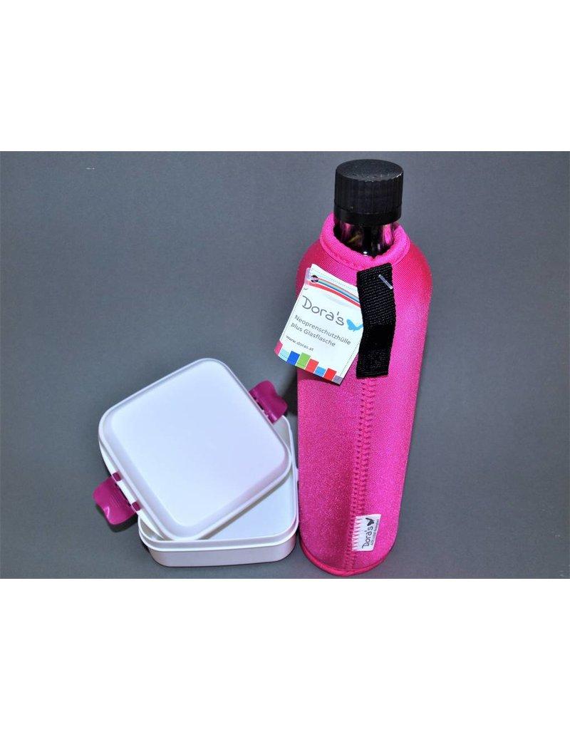 Biodora Glasflasche mit Neoprenbezug uni + Brotdose klein
