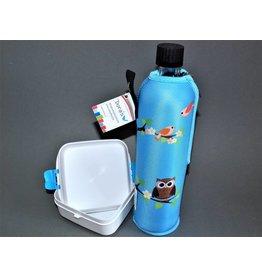 Biodora Glasflasche mit Neoprenbezug bunt + Brotdose klein