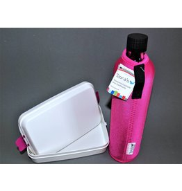 Biodora Glasflasche mit Neoprenbezug uni + Brotdose Groß