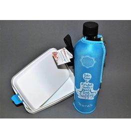Biodora Glasflasche mit Neoprenbezug gemustert + Brotdose groß