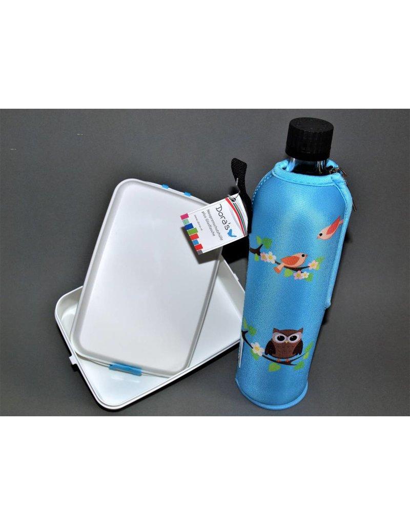 Biodora Glasflasche mit Neoprenbezug gemustert + Brotdose groß verschiedene
