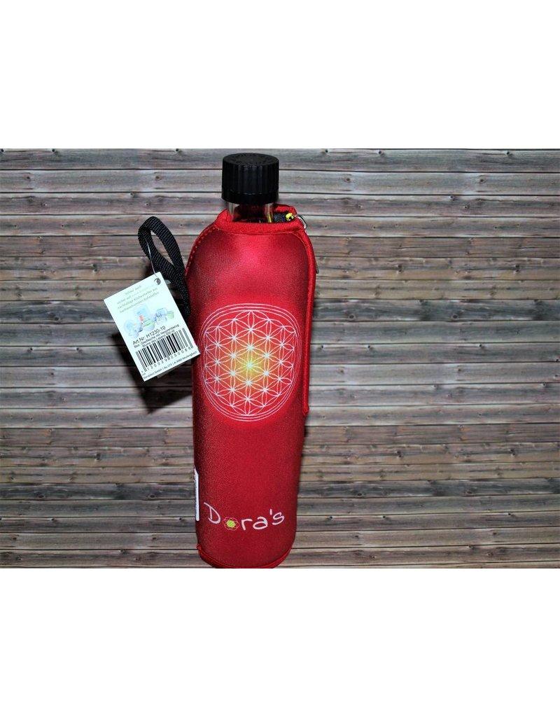 Biodora Blume des Lebens Trinkglasflasche mit Neoprenbezug