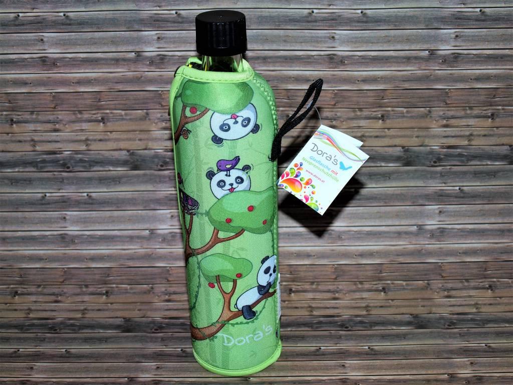 Biodora Glasflasche mit Neoprenbezug Design Panda