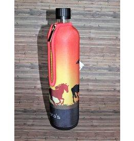 Biodora Glasflasche mit Neoprenbezug Design Pferd