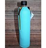 Biodora Glasflasche mit Neoprenbezug -türkis