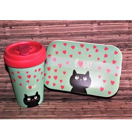BambooCup Sparset Kitty Love  ToGo Becher & Lunchbox