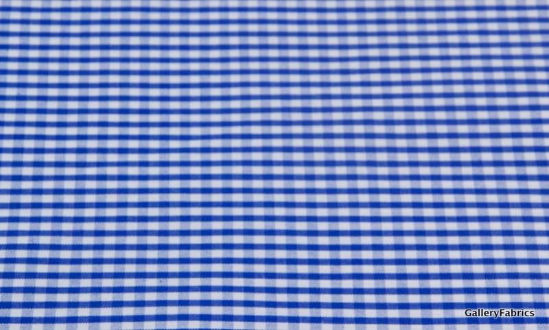 Polyester/katoen Blauw/Wit klein geruit