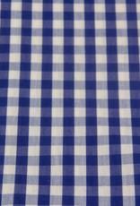 Polyester/katoen Blauw/Wit geruit