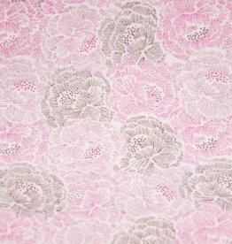 Katoen Bloemen roze/bruin