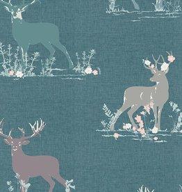 Art Gallery Fabrics Dear Deer Teal