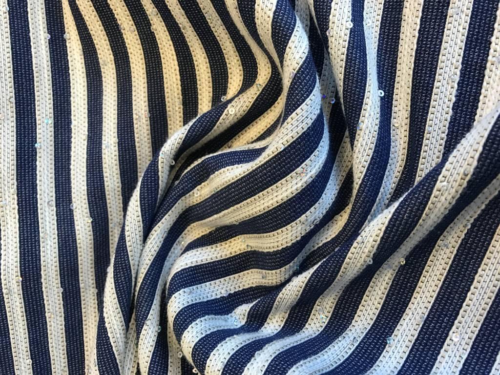 Geweven stof blauw/ecru met pailletten