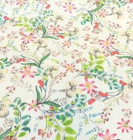 Katoenstretch bloemenprint