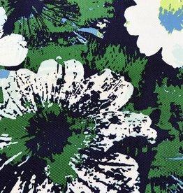 Katoenstretch bloemenprint Donkerblauw/Groen