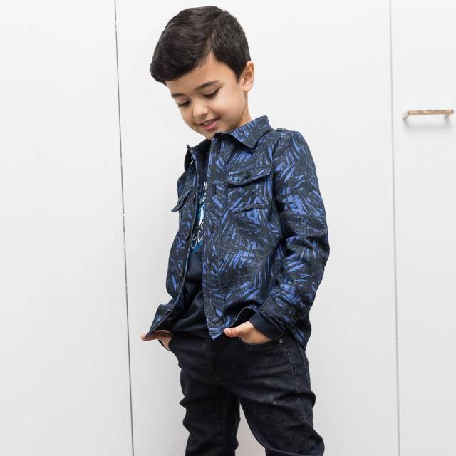 La Maison Victor Stretch jeans blauw/zwart palmblad