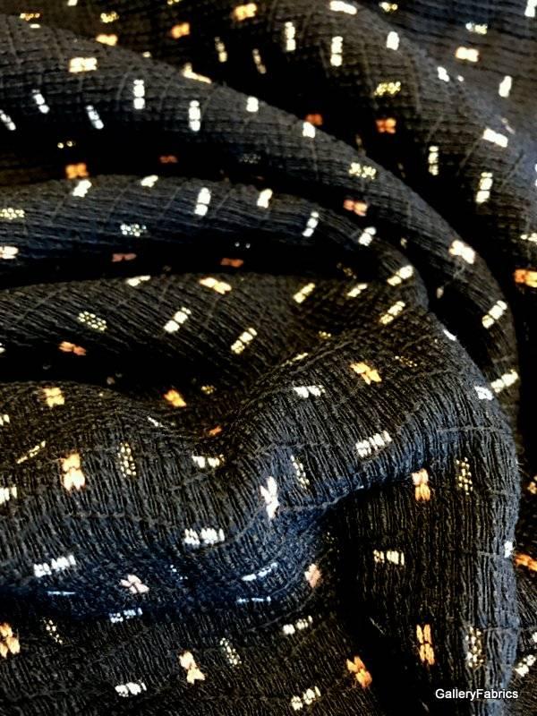 La Maison Victor COUPON 55 cm Zwarte geweven stof met gekleurd fijn motiefje