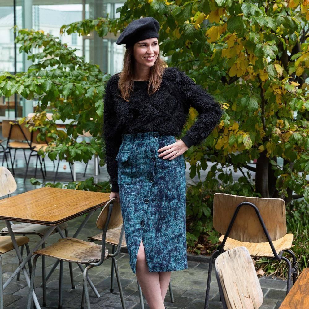 La Maison Victor Wollen stof Donkerblauw/Turquoise/Groen