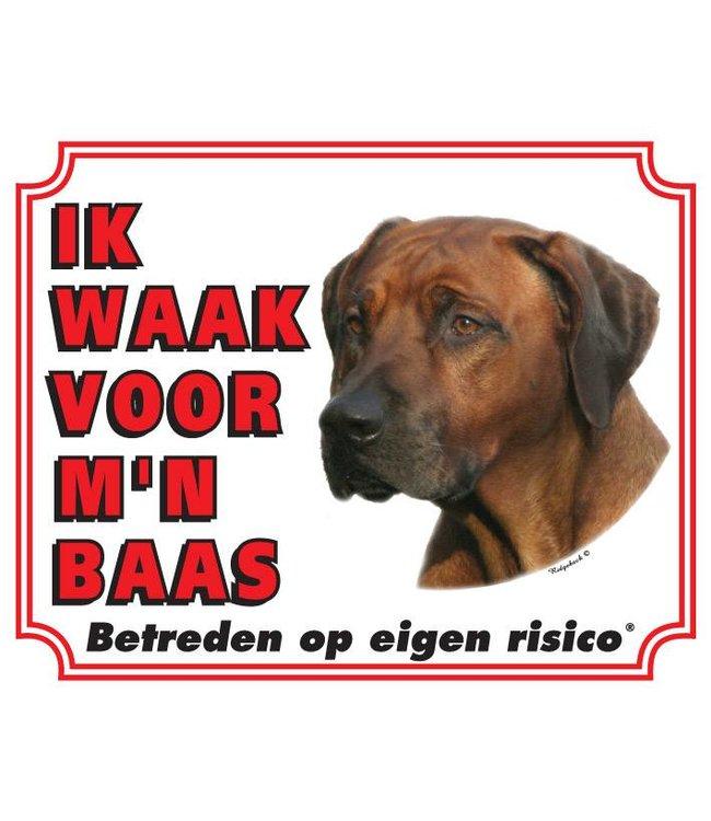 Stickerkoning Rhodesian Ridgeback Waakbord - Ik waak voor mijn