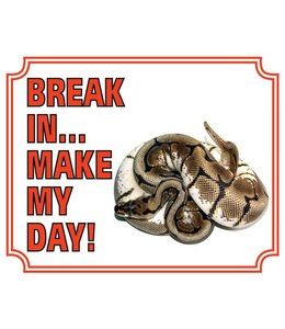 Stickerkoning Tijger Python Waakbord - Break in make my Day