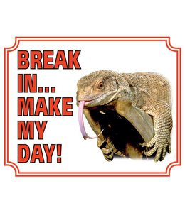 Stickerkoning Hagedis Waakbord - Break in make my day