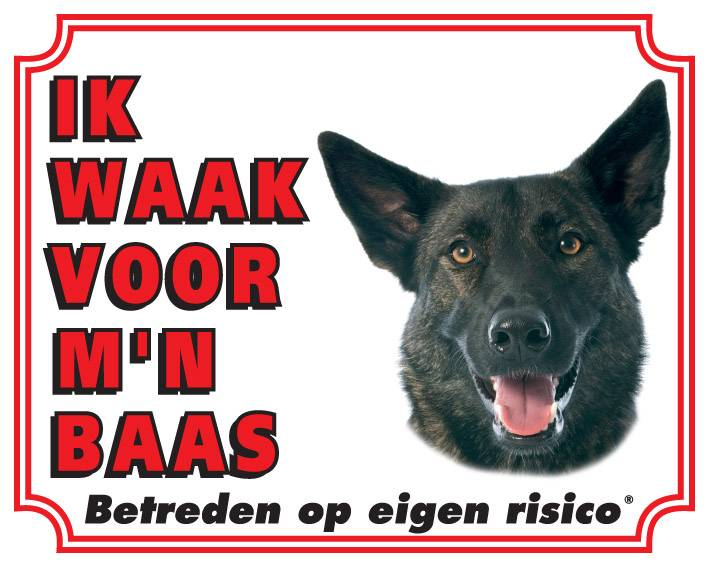 Hollandse Herder Waakbord - Ik waak voor mijn baas