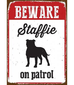 Magnet & Steel Staffordshire Bull Terrier Waakbord - on Patrol