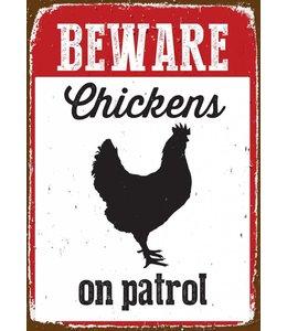 Magnet & Steel Kippen Waakbord - Beware on Patrol