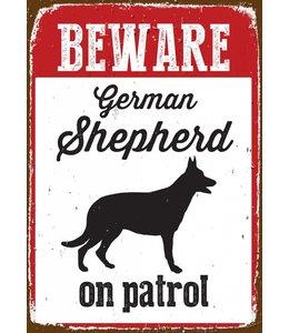 Magnet & Steel Duitse Herder Waakbord - Beware on Patrol