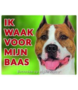 Stickerkoning American Staffordshire Terrier Waakbord - Ik Waak