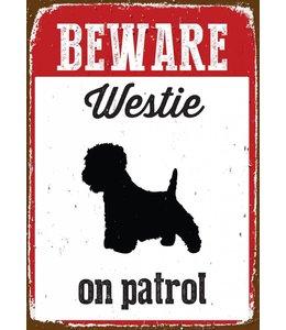 Magnet & Steel West Highland White Terrier Waakbord Beware
