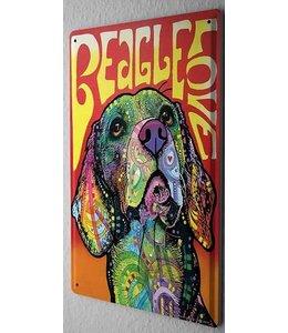 Leotie Beagle Metalen Bord Love