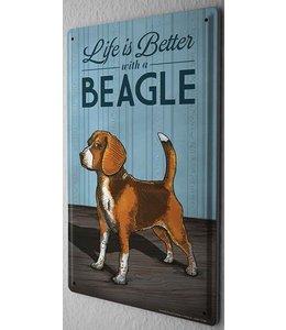 Leotie Beagle Metalen Bord Life is Better
