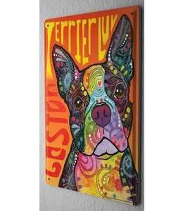 Leotie Boston Terrier Metalen Bord Love