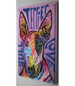 Leotie Bull Terrier Metalen Bord Love