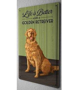 Leotie Golden Retriever Metalen Bord Life is Better