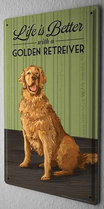 Golden Retriever Metalen Bord Life is Better