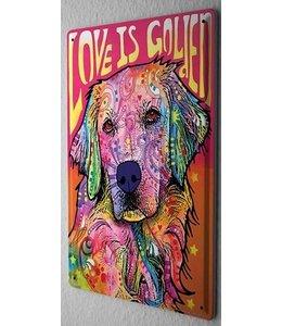 Leotie Golden Retriever Metalen Bord Love